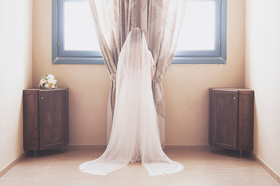 Bride's portrait. Vintage picture. chic and beautiful. Flowers, Back . Long wedding dress. Kampos, Chios, Greece , Alepa Katerina , Layer Photography
