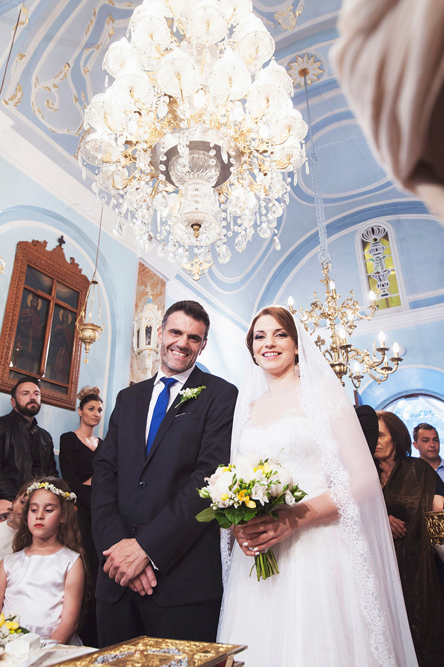Greek wedding. Orthodox church. Bride and groom. Chios, Greece. Alepa Katerina . Layer Photography
