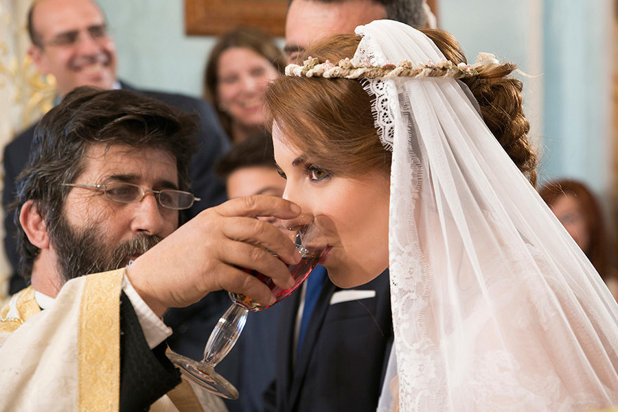 Greek wedding. Wine. Orthodox church. Bride's portrait. Chios, Greece. Alepa Katerina . Layer Photography