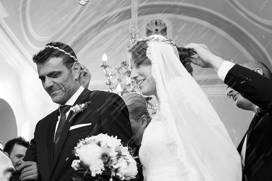 Greek wedding. Rice. Orthodox church. Isaias dance. Bride's and Groom's portrait. Chios, Greece. Alepa Katerina . Layer Photography