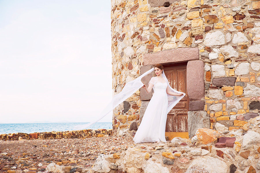 Wedding Photoshooting. Bride's portrait. near the sea. greek wedding . Chios , Greece. greek island. watermill. Couple photoshooting. Love and married. Alepa Katerina . Layer Photography