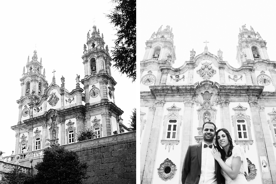 Couple in the church. Love and married. Ηappiness. Couple, Groom and Bride. Santuário de Nossa Senhora dos Remédios, Shrine of Our Lady of Remedies the cathedral in Lamego.Portugal. Layer Photography. Alepa Katerina
