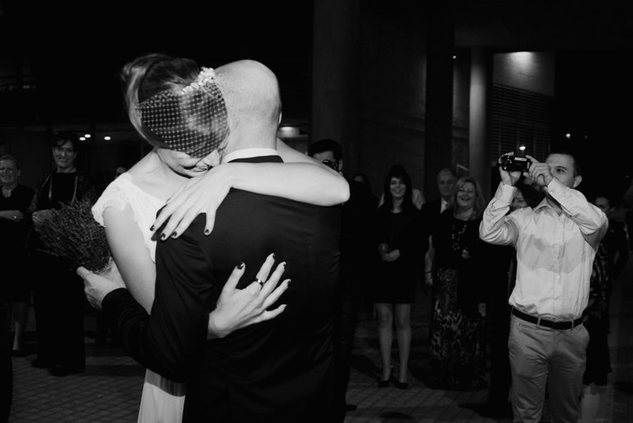Town hall. Couple in love. Happy life, bride and groom. Hug before the wedding. Paparazzi. Happy friends. Civil wedding in Thessaloniki, Greece
