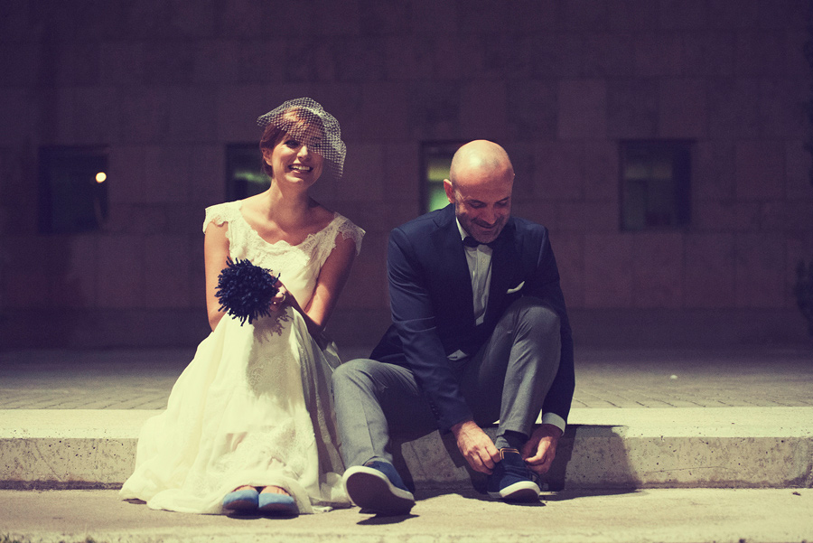 Love and married. Take a break after the wedding in the Town hall. Bride and Groom.Hapiness.Civil wedding in Thessaloniki,Greece . Katerina Alepa . Layer Photography