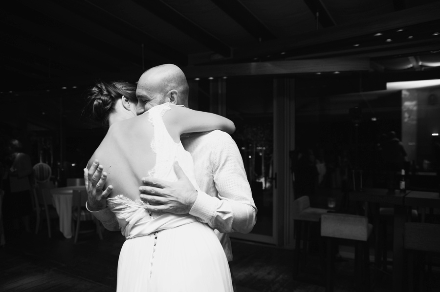 Hold me forever. The groom hug his love in the wedding party.Civil wedding in Thessaloniki