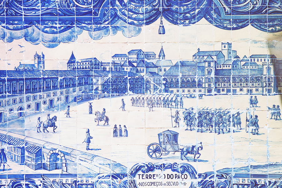 Portugal, Azulejos, the traditional blue-white tiles used to decorate entire facades of buildings . Alepa Katerina . Layer Photography