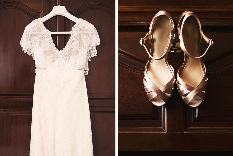 The wedding dress and the wedding shoes Portugal. Wedding . Bride preparation's. The bride make-up by herself. Portugal, Bride preparation. Alepa Katerina . Layer Photography