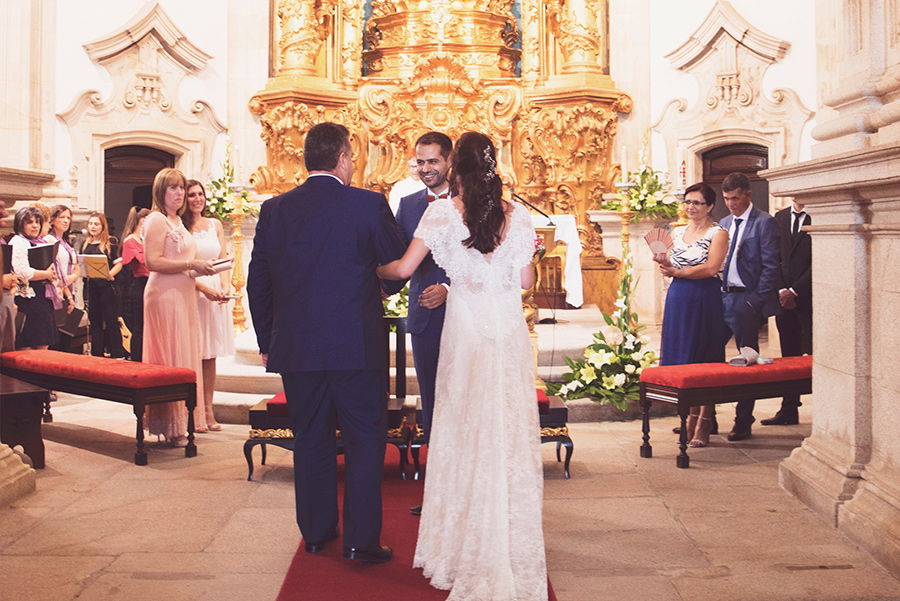 Bride's father came with his daughter. Groom and Bride, wedding. Santuário de Nossa Senhora dos Remédios, Shrine of Our Lady of Remedies the cathedral in Lamego.Portugal. Layer Photography. Alepa Katerina
