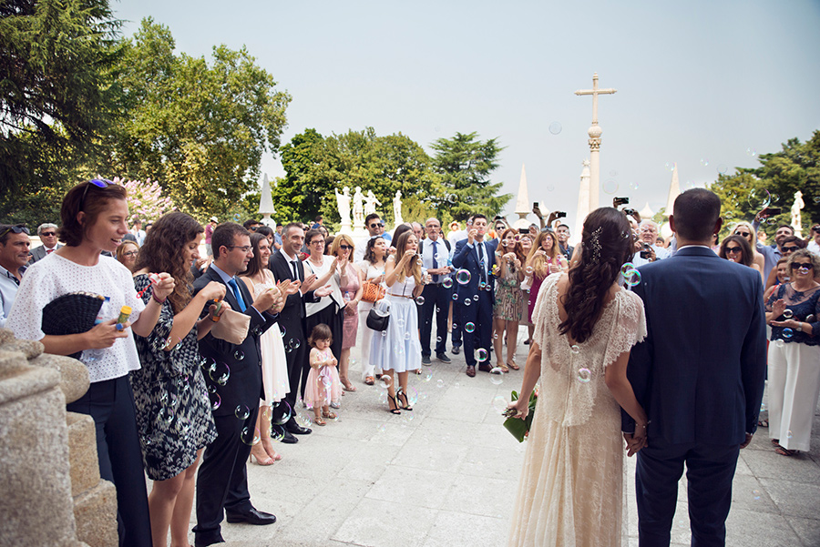 Bubbles for the couple.Their married. Friends, happiness. Couple, Groom and Bride.Santuário de Nossa Senhora dos Remédios, Shrine of Our Lady of Remedies the cathedral in Lamego.Portugal. Layer Photography. Alepa Katerina